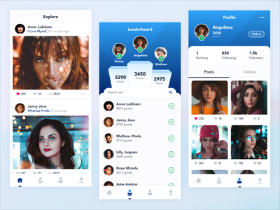 Feeds  Leaderboard and Profile upload likes users home cards explore ranking rank profile lists leaderboard