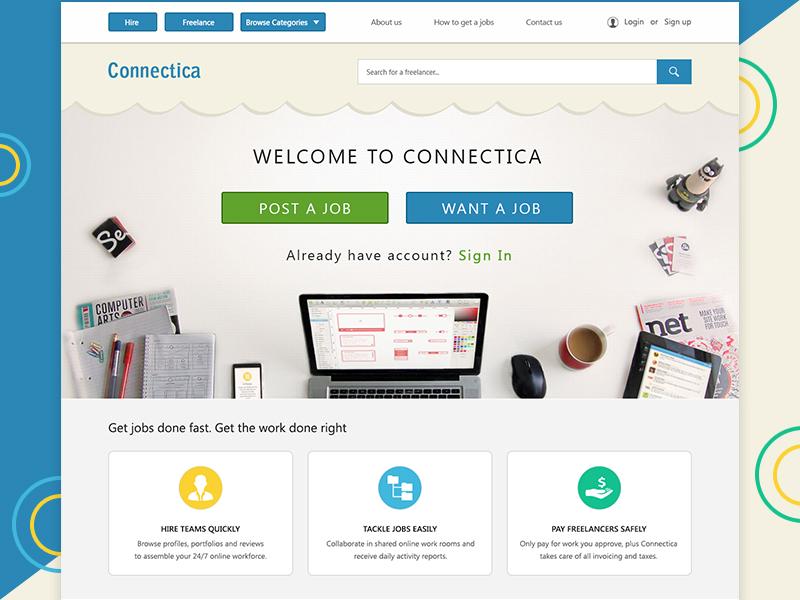 Freelance Work Website ui application desktop website web ui ux modern minimal landing page creative skill find job freelance freelancers