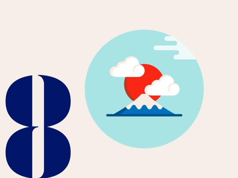 21 DAYS 8 dreamy harmony turquoise illustration flat design mount fuji