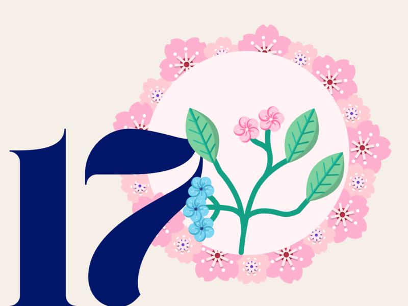 21 DAYS 17 flowers illustration lockdown visual design pink delicate flowers design challenge