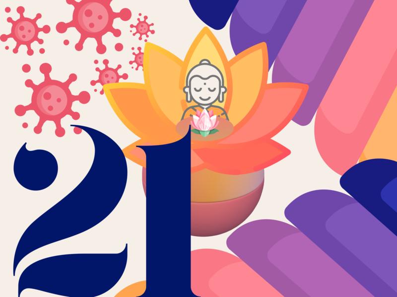 21 DAYS 21 orange pink flat peace corona buddha sphere design challenge