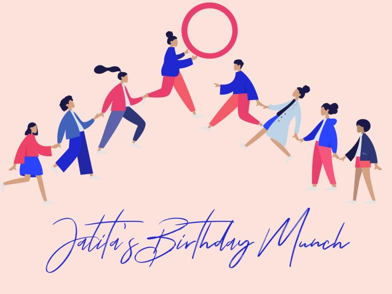 Birthday Munch 2019 pink characters ui illustration