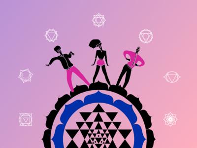 Chakra Dancers flat ui pink happy chakras dancers