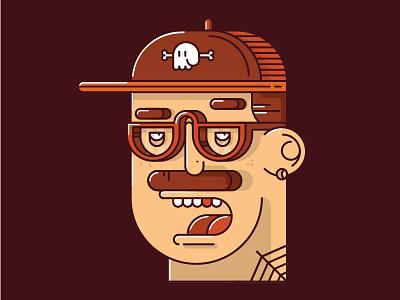 Young Man linework profile flat portrait vector