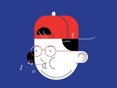 Cool Kid rock music whistle charcter man portrait face