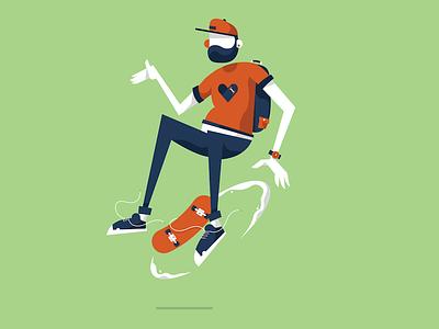Skater kid portrait vector face body charcter skateboard die skate