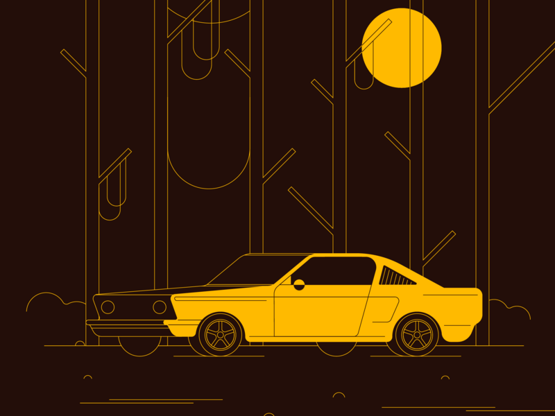 Mustang flat vector minimal color muscle auto mustang vehicle cars