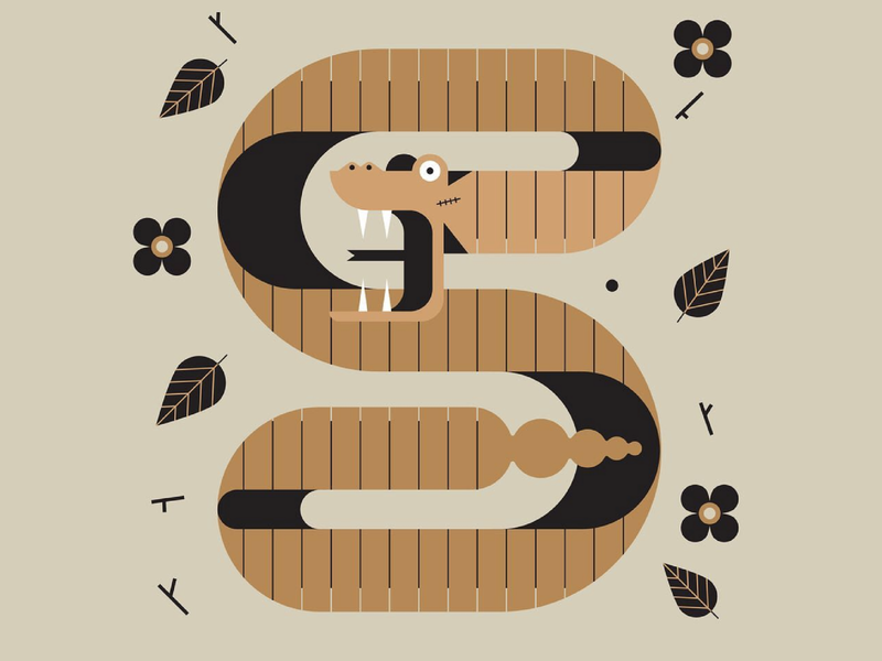 Snakes in the grass minimal color tattoo flash tattoo vector flat animals snakes snake