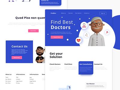 FindDoc - Find Best Doctor find doctor doctor app 3d design medecine uitrend uiux webdesign website doctor