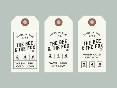 The Bee & The Fox label tag logo typography