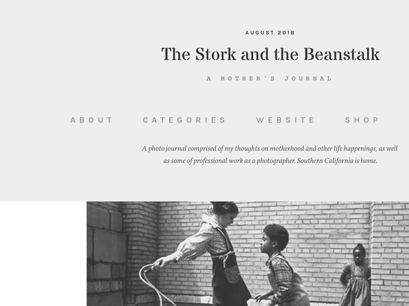 The Stork and the Beanstalk website detail dropdown navigation