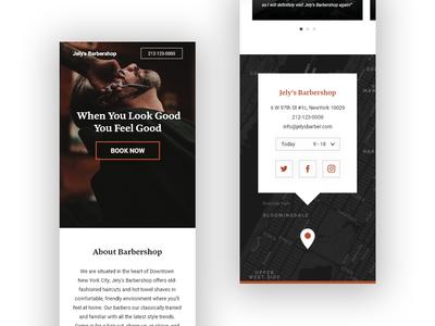 Barbershop mobile webdesign concept