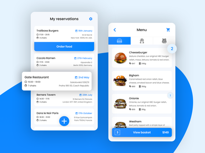 App for restaurant reservation and ordering food - 1 clean app mobile app minimal app uidesign ux design checkout order restaurant blue clean app uiux ui concept interaction webdesign web ux
