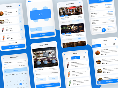 App for restaurant reservation and ordering food - 2 clean app mobile app minimal app uidesign ux design checkout order restaurant blue clean app uiux ui concept interaction webdesign web ux