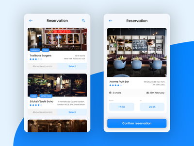 App for restaurant reservation and ordering food - 3 clean app mobile app minimal app uidesign ux design checkout order restaurant blue clean app uiux ui concept interaction webdesign web ux