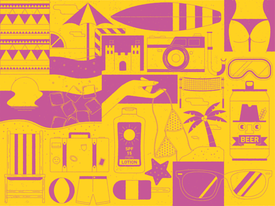 Beach Time vector design beer holiday beach illustration flatdesign adobe 2d