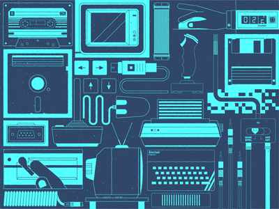 80's Hardware Time texture retro computer illustrator flat design 2d illustration design vector