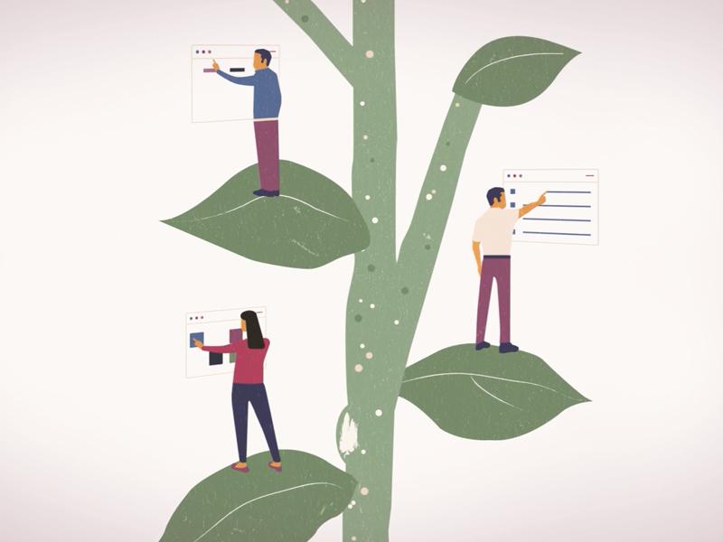 GROW Model plant design illustrator flat design illustration vector