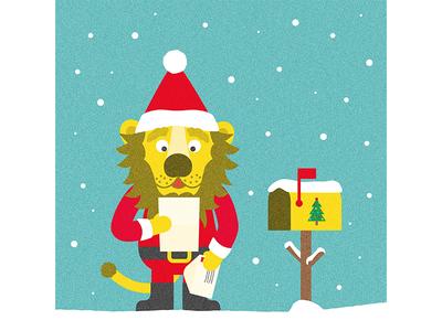 Lettre au père Noël - Finition kids enfants letter lettre lion illustration christmas noel