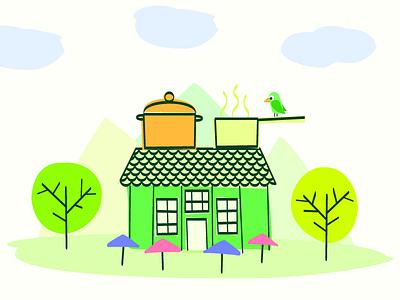 Illustration La Fabuleuse Cantine illustrator canteen cook restaurant bird illustration