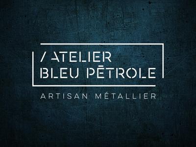 Logo Atelier Bleu Petrole worker steel craft artisan metal petrol blue logo