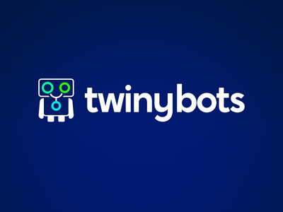 Twinybots - Social bot logo design robot green blue brand share social bot identity branding design logo