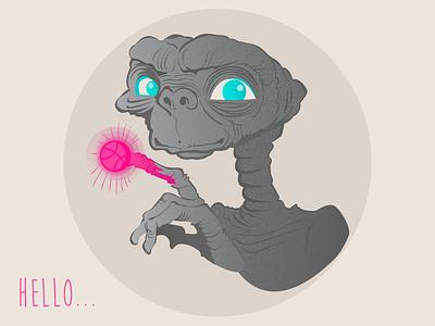 Hello Dribbble extra e-t illustration debut
