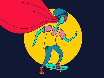 Alien girl skateboard girl alien illustration