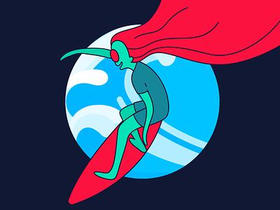 Alien girl surfing alien illustration