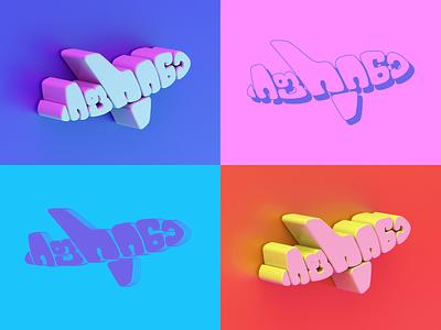 Fly Away airplane fly 3dart cinema4d branding typography graphicdesign vector minimal design mark art illustration