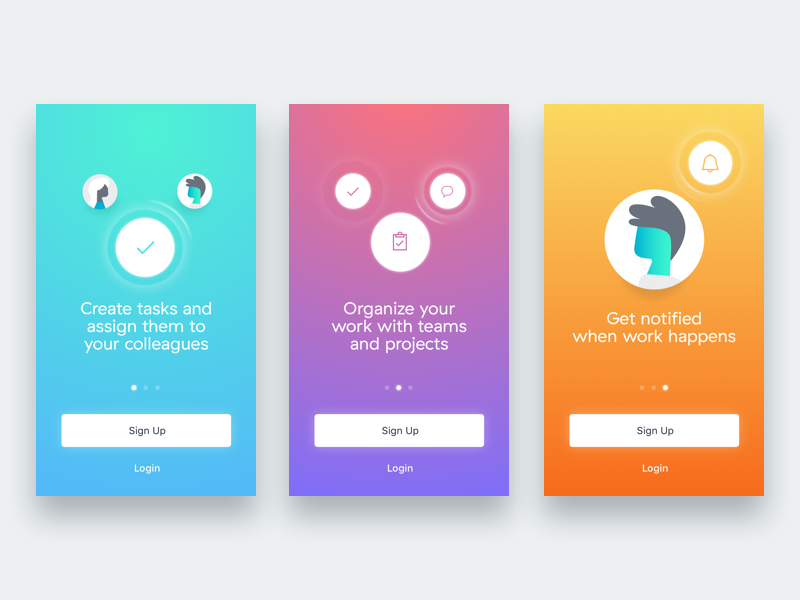New User Experience Style Frames - iOS gradient onboarding ios new user experience mobile