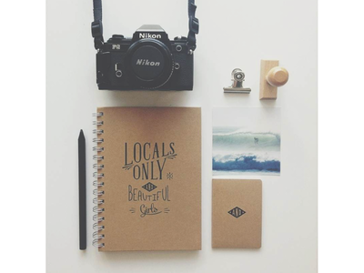 Locals Only and Beautiful Girls - Stationery typeface type typography stationery kraft paper photo photography instagram identity handmade stamp