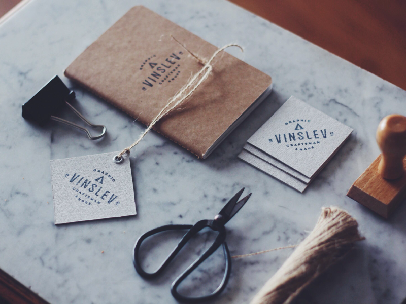 vinslëv - stamp identity stamp stationery kraft paper business card