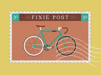 Fixie Stamp fixie bike hipster boho vintage logo icon city vélo parisian paris stamp post postal vinslëv vinslev