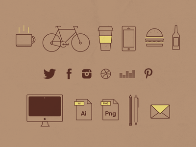 Day of a graphic designer graphic designer designer bike coffee iphone burger beer twitter facebook instagram dribbble deezer pinterest imac illustrator pen mail