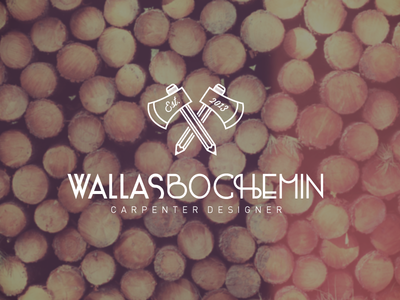 Wallas Bochemin logo carpenter designer carpentry wood ax lumberjack pencil pen draw