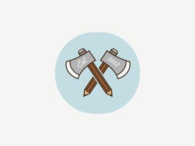 Wallas Bochemin (icon) logo carpenter designer carpentry wood ax lumberjack pencil pen draw