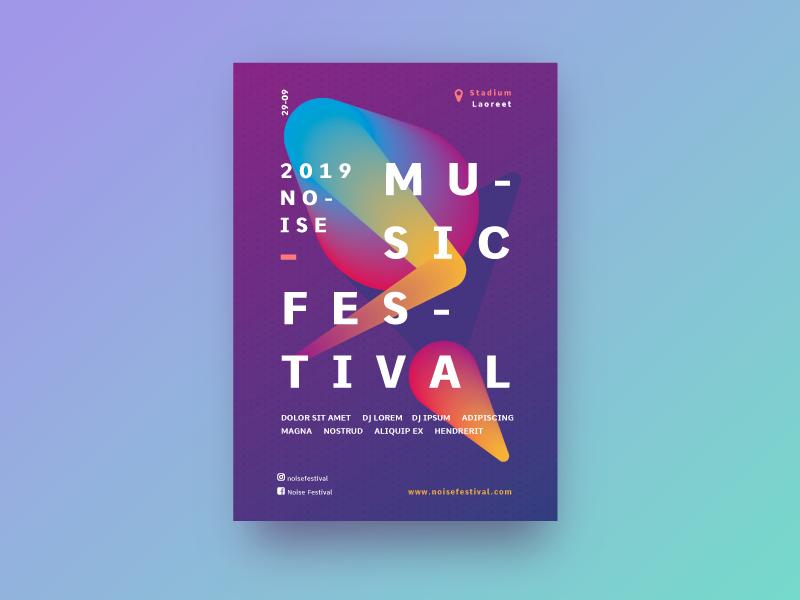 Music festival festivaldemusica color poster art poster a day violeta branding freepik noise musicfestival music poster