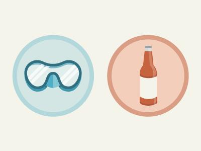 Activity Badges badge beer pastel illustration glyph flat scuba
