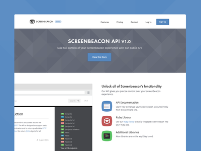 Screenbeacon API v1.0 squircle icons gray geometric web pattern blue code api screenbeacon