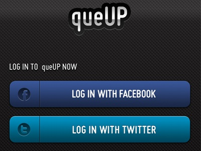 queUP Login View ios app mobile login buttons facebook twitter
