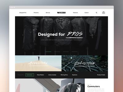 Incase Homepage Direction 1 incase art direction basic homepage ecommerce ecomm digital redesign
