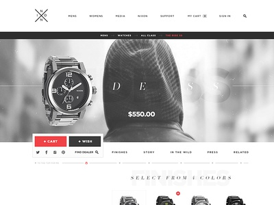 Nixon Redesign for Fun watch nixon product ecomm ecommerce detail anchor nav sticky nav long page one page open white space redeign watches