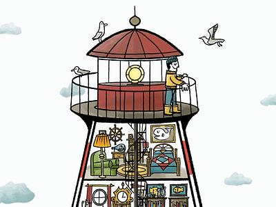The Busy World of a Lighthouse digital art coastal seagull ocean procreate lighthouse illustration
