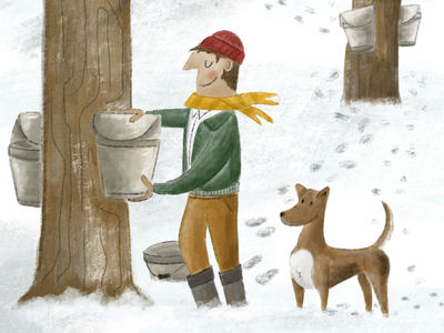 Maple Season new england dog character procreate maple sugar maple