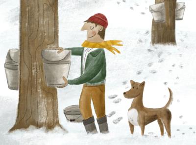 Maple Season new england dog character procreate maple sugar maple