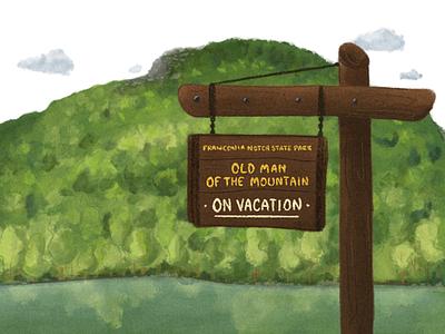 Old Man of the Mountain Illustration white mountains landscape procreate digital illustration new england new hampshire old man of the mountain