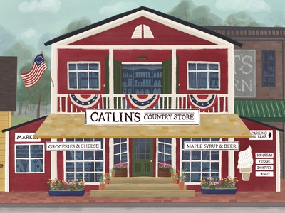 The Country Store illustration market architecture new england general store country store