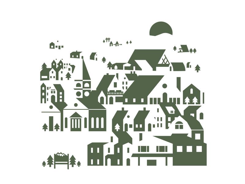 Mountain Town architecture building new england illustration town mountain