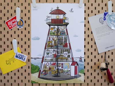 A New England Lighthouse Keeper Print new england ocean nautical lighthouse print procreate digital illustration illustration